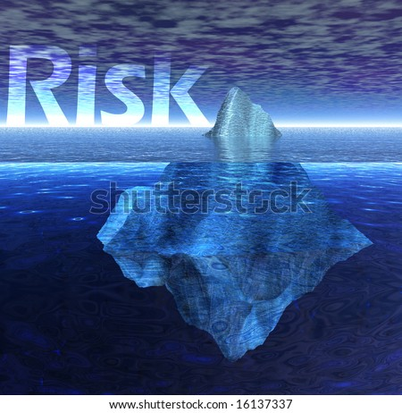 Floating Iceberg in the Ocean with Risk Text - stock photo
