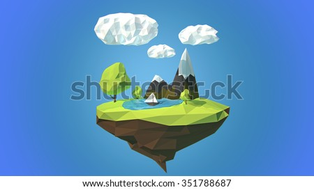 Floating island with mountain and clouds in the sky - stock photo