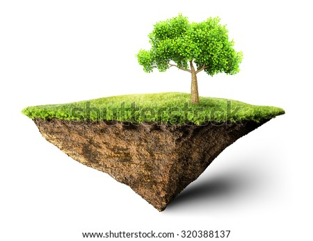 floating island with tree 3D illustration - stock photo