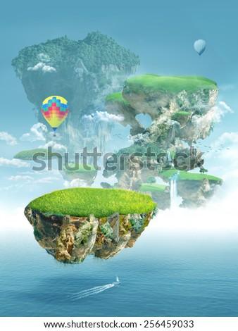 floating islands - stock photo