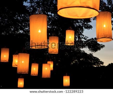 Floating lantern festival - stock photo