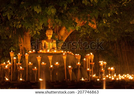 Floating lantern in Wat Phan Tao, Chiangmai,Thailand - stock photo