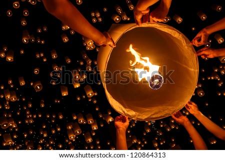Floating lantern, Yi Peng,Firework Festival in Chiangmai Thailand - stock photo