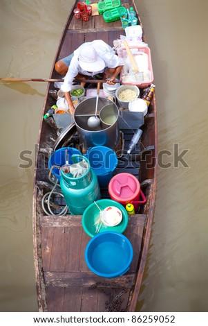 Floating Market in Ayutthaya Thailand. - stock photo