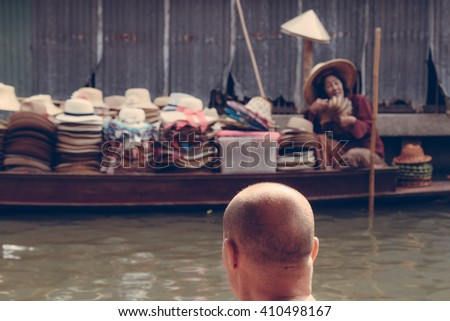 Floating markets in Damnoen Saduak in Ratchaburi, Thailand (Vintage filter effect) - stock photo