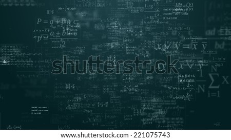 Floating mathematical formules on the blue background - stock photo