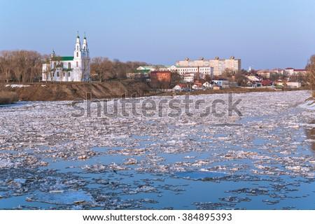 Floating of ice on the river Zapadnaya Dvina in Polotsk, Belarus - stock photo