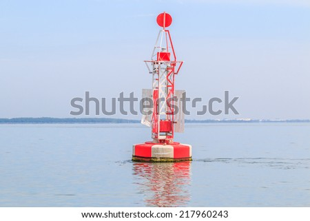 floating red beacon in sea ocean in Gulf of Thailand - stock photo