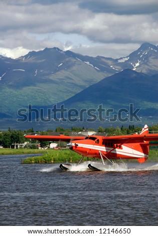 Floatplane on Lake Hood in Alaska - stock photo
