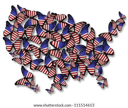 Flock of american flag butterflies flying as map of USA, isolated on white background - stock photo