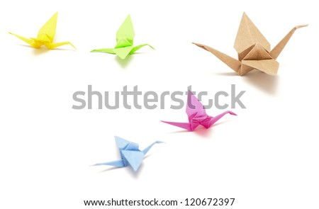 flock of origami birds on white background - stock photo