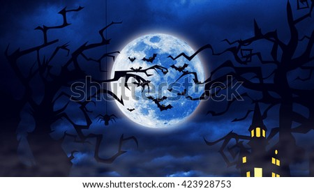 Flock of the creepy bats fly at the Halloween Night with a full moon behind them and silhouette of trees and custles infront - stock photo