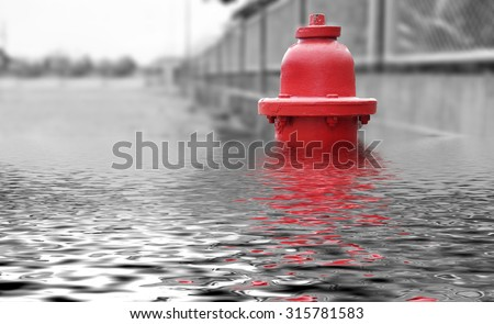 Flood,fire hydrant , hose connection ,fire fighting equipment for fire fighter. - stock photo