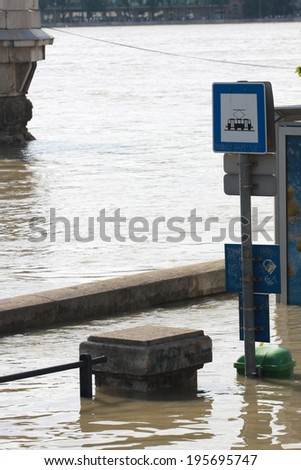 flood in the city, Budapest - stock photo