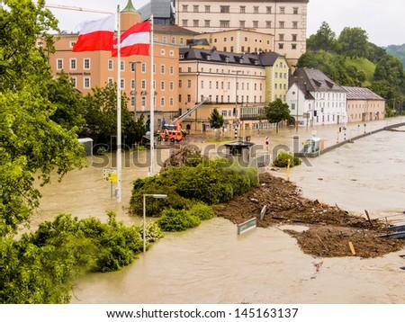 flood of 2013. linz, austria. inundation and flooding. - stock photo