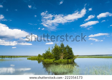 Flood Waters Cloudscape Above  - stock photo