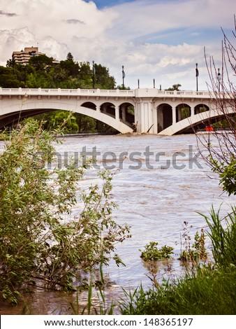 Flooded Bridge - stock photo