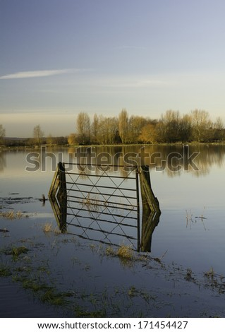 Flooded fields on the Somerset Levels in the west of England - stock photo