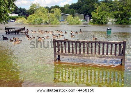 Flooded parkland at Henley on Thames during the UK floods of summer 2007 - stock photo