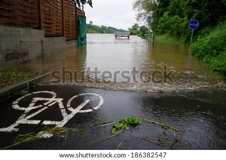 Flooded path - stock photo