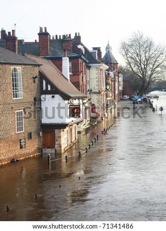 Flooded river, York, England. - stock photo