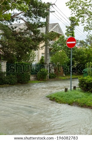 Flooded terrain in Balaton - stock photo