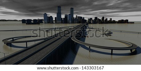 Flooded Urban Infrastructure - stock photo