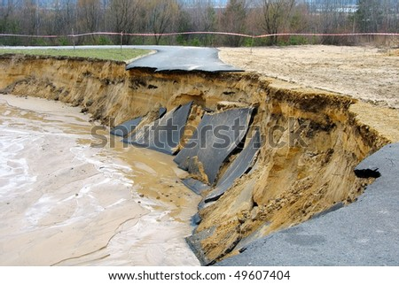 Flooding and destruction - stock photo