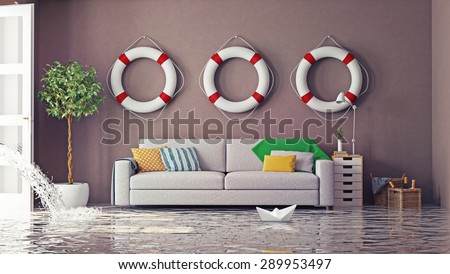 flooding in  interior. 3d creative concept - stock photo