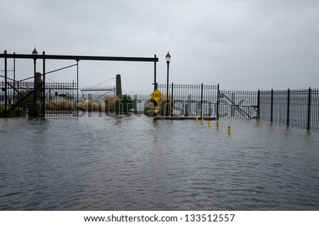 Flooding in Red Hook, Brooklyn, during hurricane Sandy. - stock photo