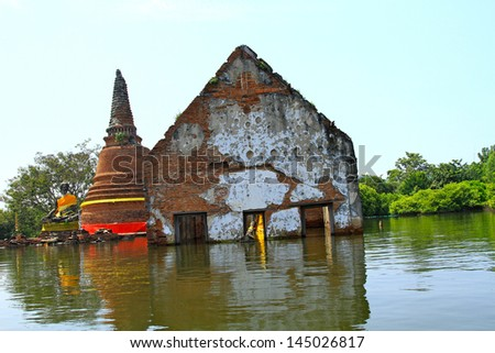 Flooding in thailand - stock photo