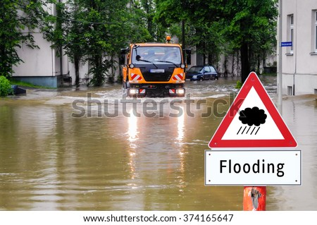 Flooding Sign - stock photo