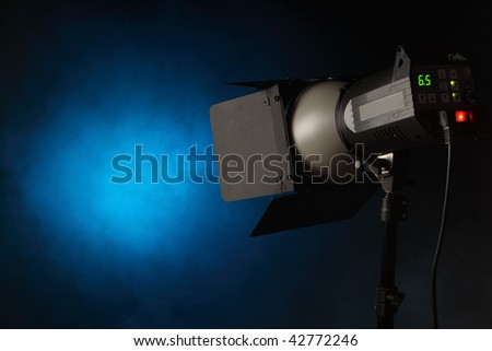 floodlight and blue projection - stock photo