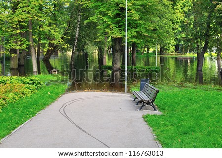 Floods in the park - stock photo