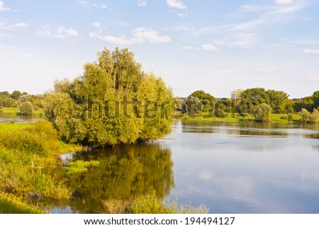 Floodwater in Oderbruch in Germany - stock photo