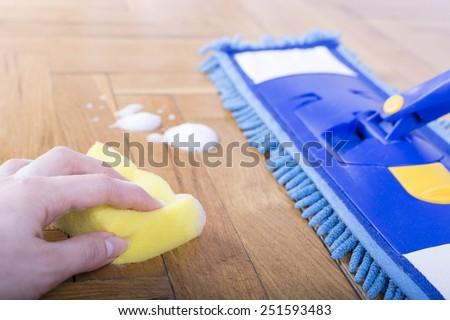 Floor cleaning mop and sponge - stock photo