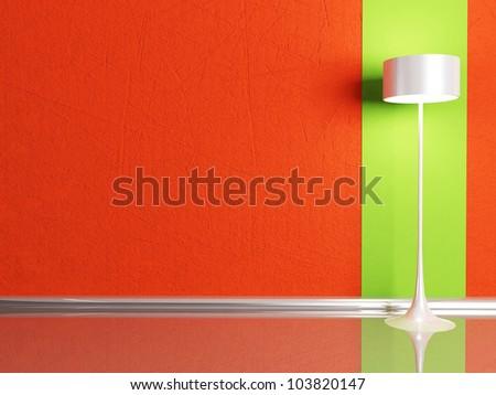 floor lamp in the  room, rendering - stock photo