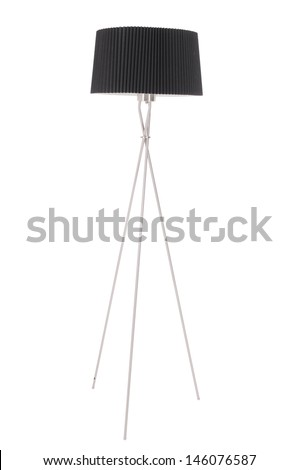 Floor lamp with a black shade on a white background - stock photo