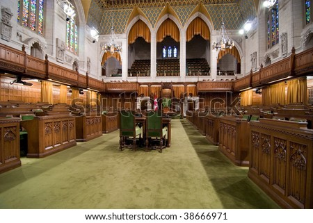 Floor of Canadian House of Commons - stock photo
