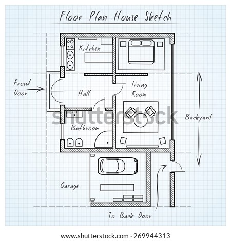 Floor plan house sketch. Technical construction, architectural flat - stock photo
