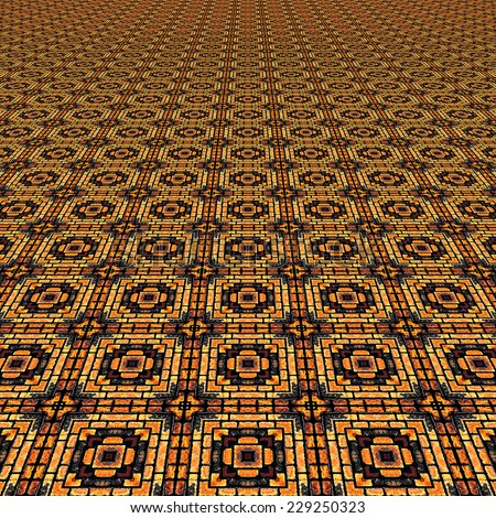 Floor with ornamental tessellation - stock photo