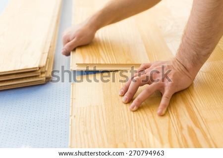 Floor, Wood Laminate Flooring, Hardwood Floor. - stock photo