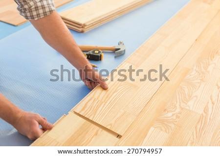 Floor, Wood Laminate Flooring, Home Improvement. - stock photo
