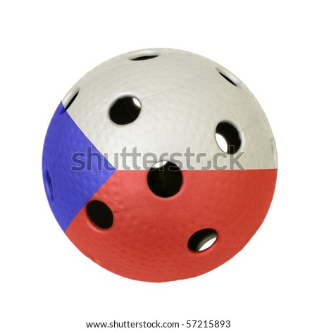 Floorball ball with the flag of Czech Republic, a team participating in the world championship of 2010. - stock photo