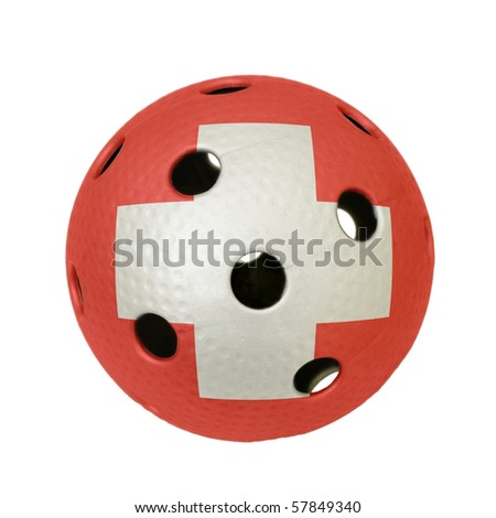 Floorball ball with the flag of Switzerland, a team participating in the world championship of 2010. - stock photo