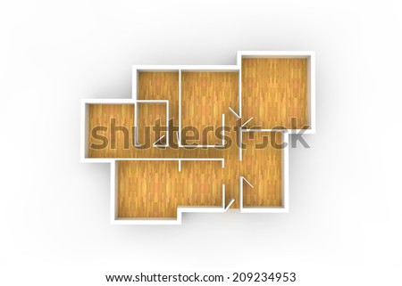 floorplan with wooden floor and empty spaces from above - stock photo