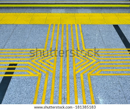 Floorstanding tactile markings for the blind at the railway station in Krasnaya Polyana, Sochi  - stock photo