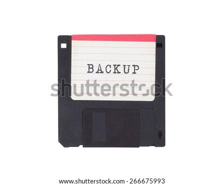 Floppy disk, data storage support, isolated on white - Backup - stock photo