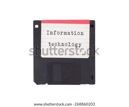 Floppy disk, data storage support, isolated on white - Information technology - stock photo