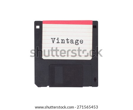 Floppy disk, data storage support, isolated on white - Vintage - stock photo